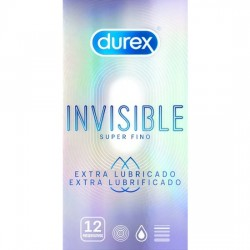DUREX INVISIBLE SUPER FINO EXTRA LUBRICADO 12 UDS